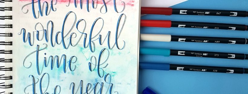 Holiday Lettering with a Watercolour Background using Tombow products