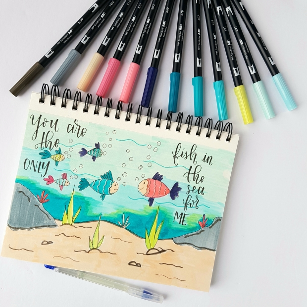 Draw With Me Underwater Scene with Tombow Markers